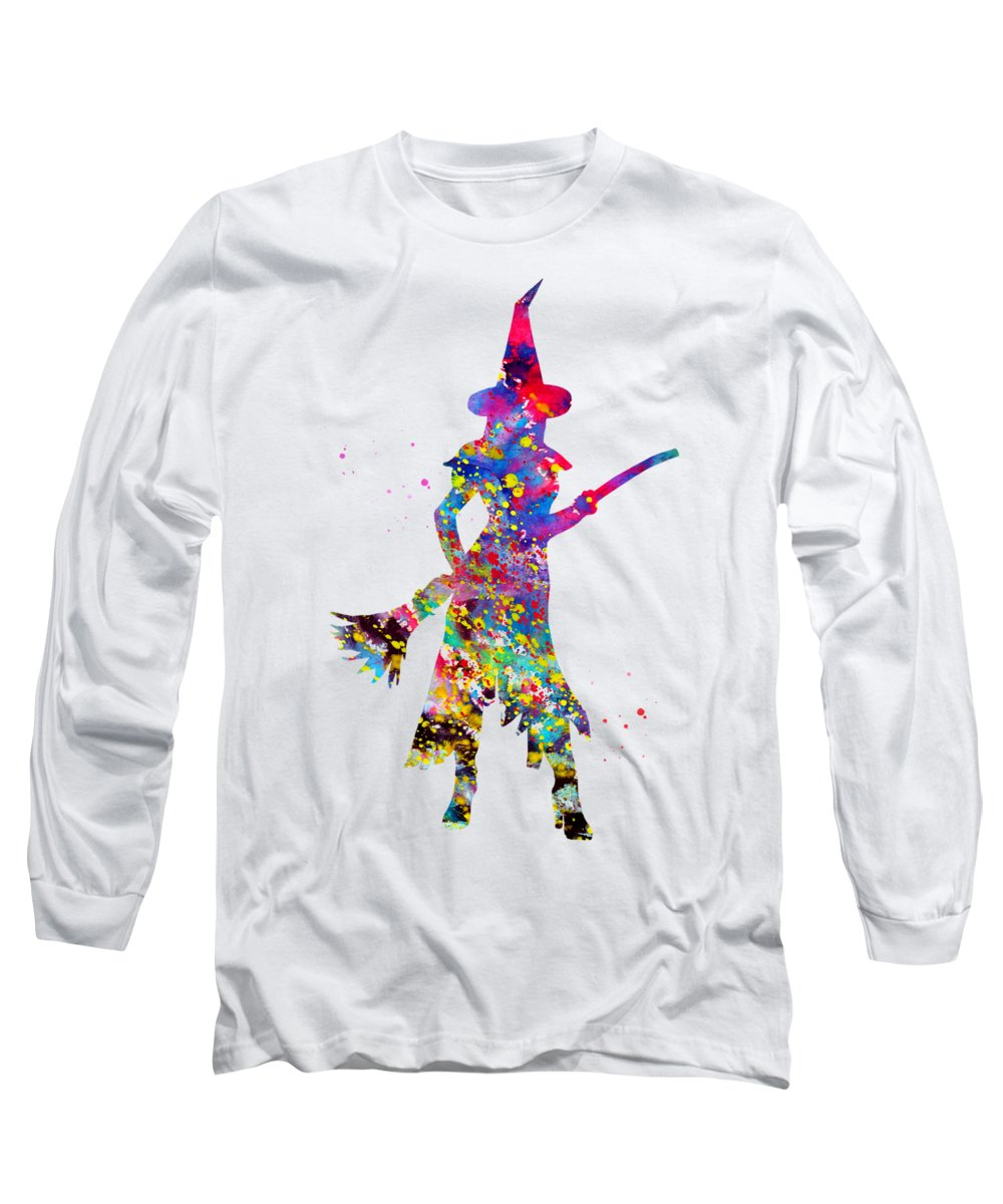 Wicked Witch Long Sleeve T-Shirt featuring the digital art Wicked Witch by Erzebet S