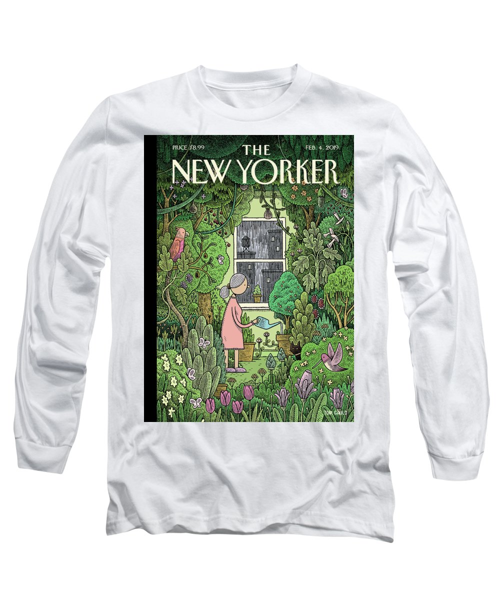 Winter Garden Long Sleeve T-Shirt featuring the painting Winter Garden by Tom Gauld