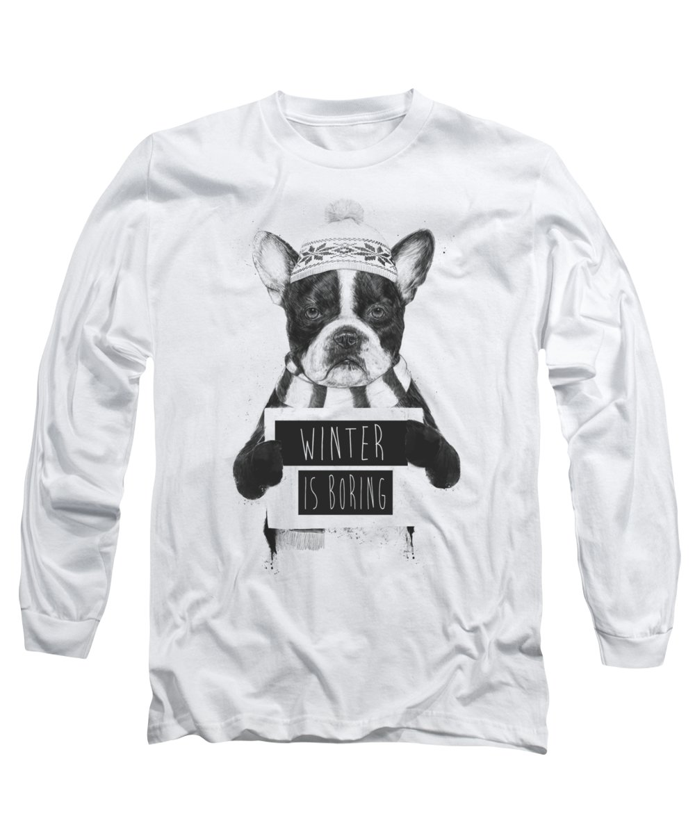 Bulldog Long Sleeve T-Shirt featuring the mixed media Winter is boring by Balazs Solti