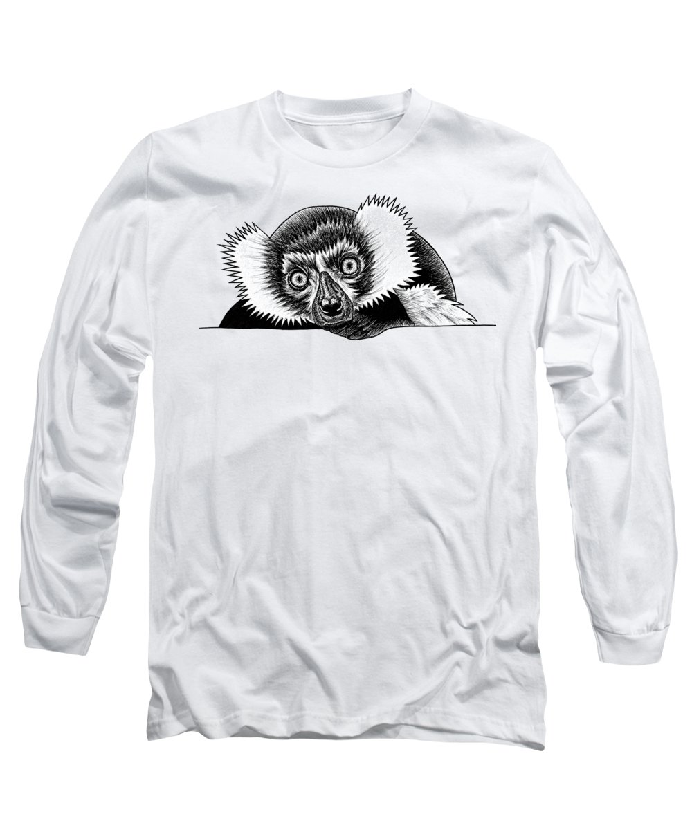Lemur Long Sleeve T-Shirt featuring the drawing Black And White Ruffed Lemur by Loren Dowding
