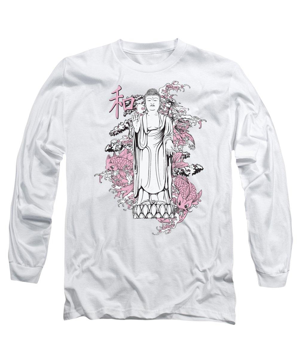 Koi Fish Long Sleeve T-Shirt featuring the digital art Buddha and Koi Fish by Jacob Zelazny