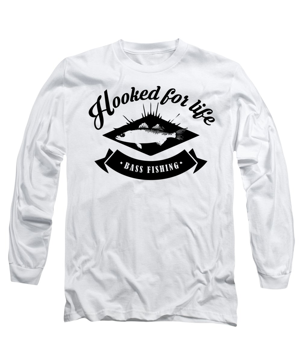 Fishing Lure Long Sleeve T-Shirt featuring the digital art Hooked for Life Bass Fishing Fisherman by Passion Loft