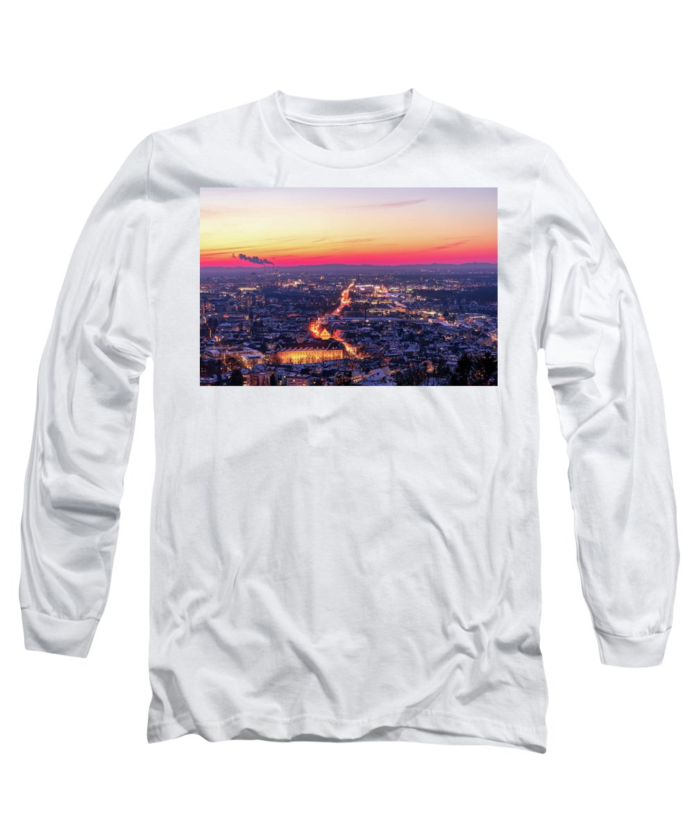 Karlsruhe Long Sleeve T-Shirt featuring the photograph Karlsruhe in winter at sunset by Hannes Roeckel