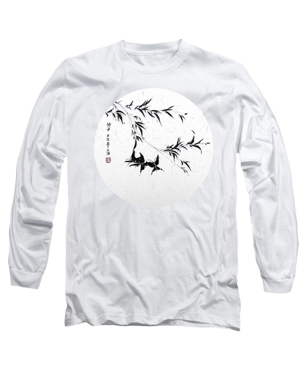 Bamboo Long Sleeve T-Shirt featuring the painting Little Dance - Round by Birgit Moldenhauer