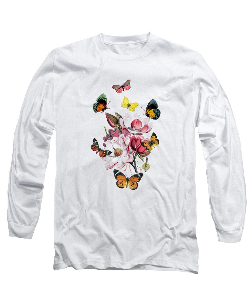 Magnolia Long Sleeve T-Shirt featuring the digital art Magnolia with butterflies by Madame Memento