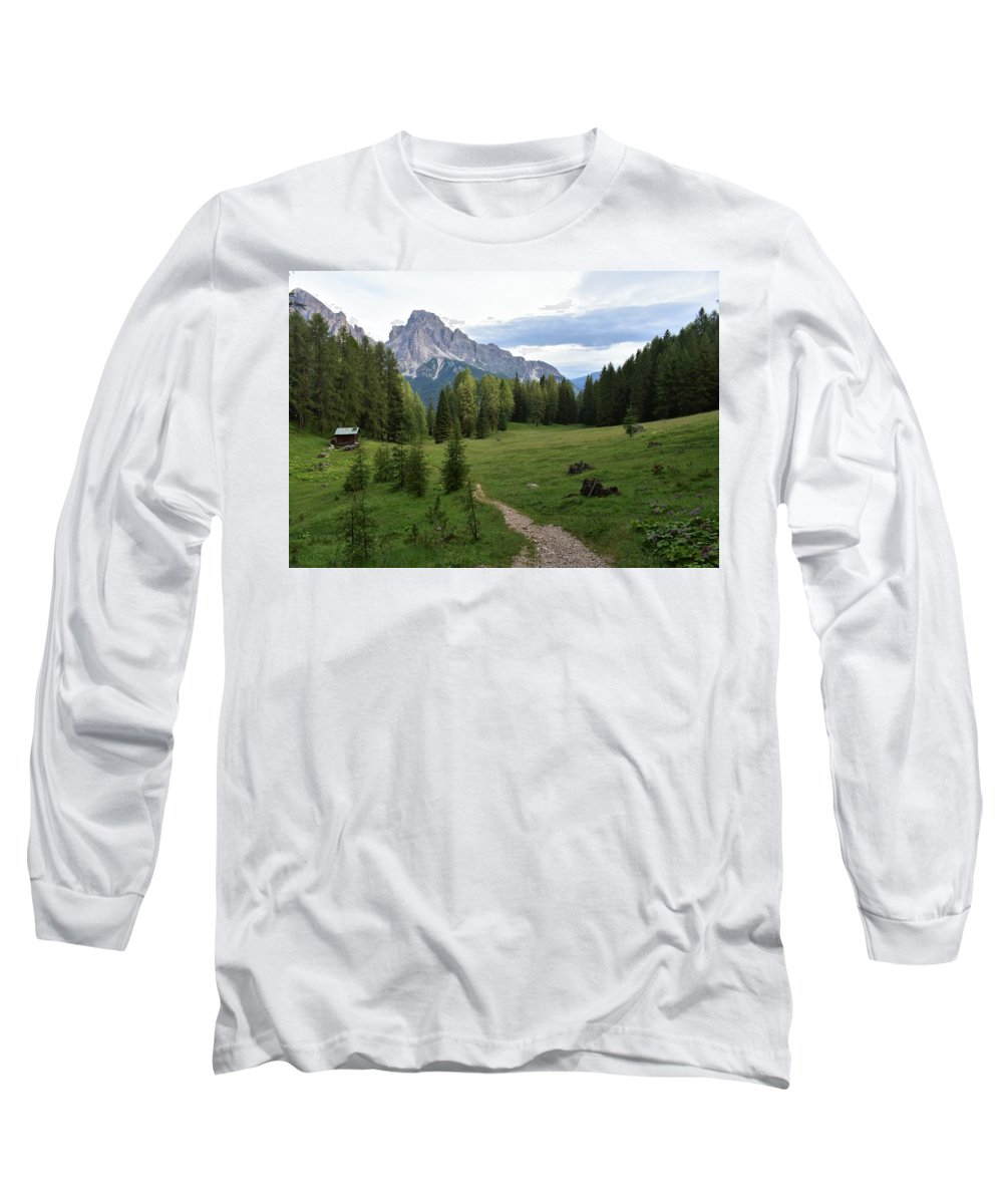 Dolomites Long Sleeve T-Shirt featuring the photograph Meadow in the dolomites by Luca Lautenschlaeger
