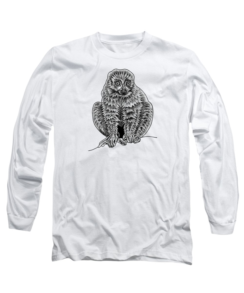 Lemur Long Sleeve T-Shirt featuring the drawing Red-bellied Lemur by Loren Dowding
