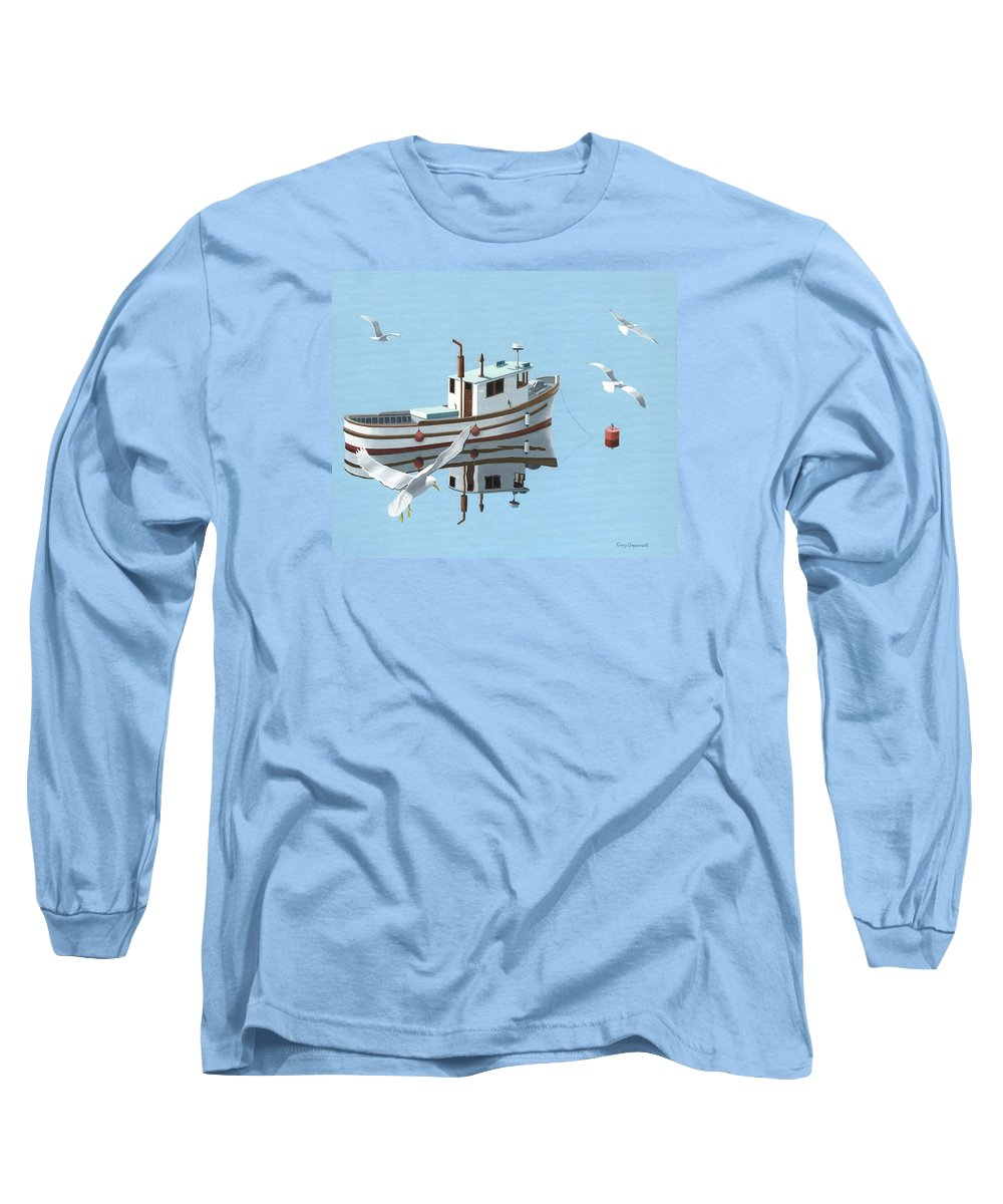 Boat Long Sleeve T-Shirt featuring the painting A Contemplation Of Seagulls by Gary Giacomelli