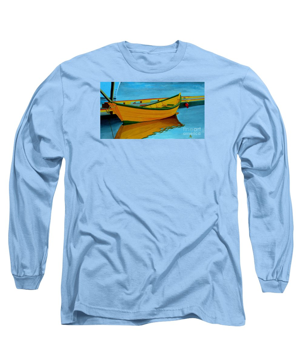 Grand Banks Long Sleeve T-Shirt featuring the painting A Grand Banks Dory by Anthony Dunphy