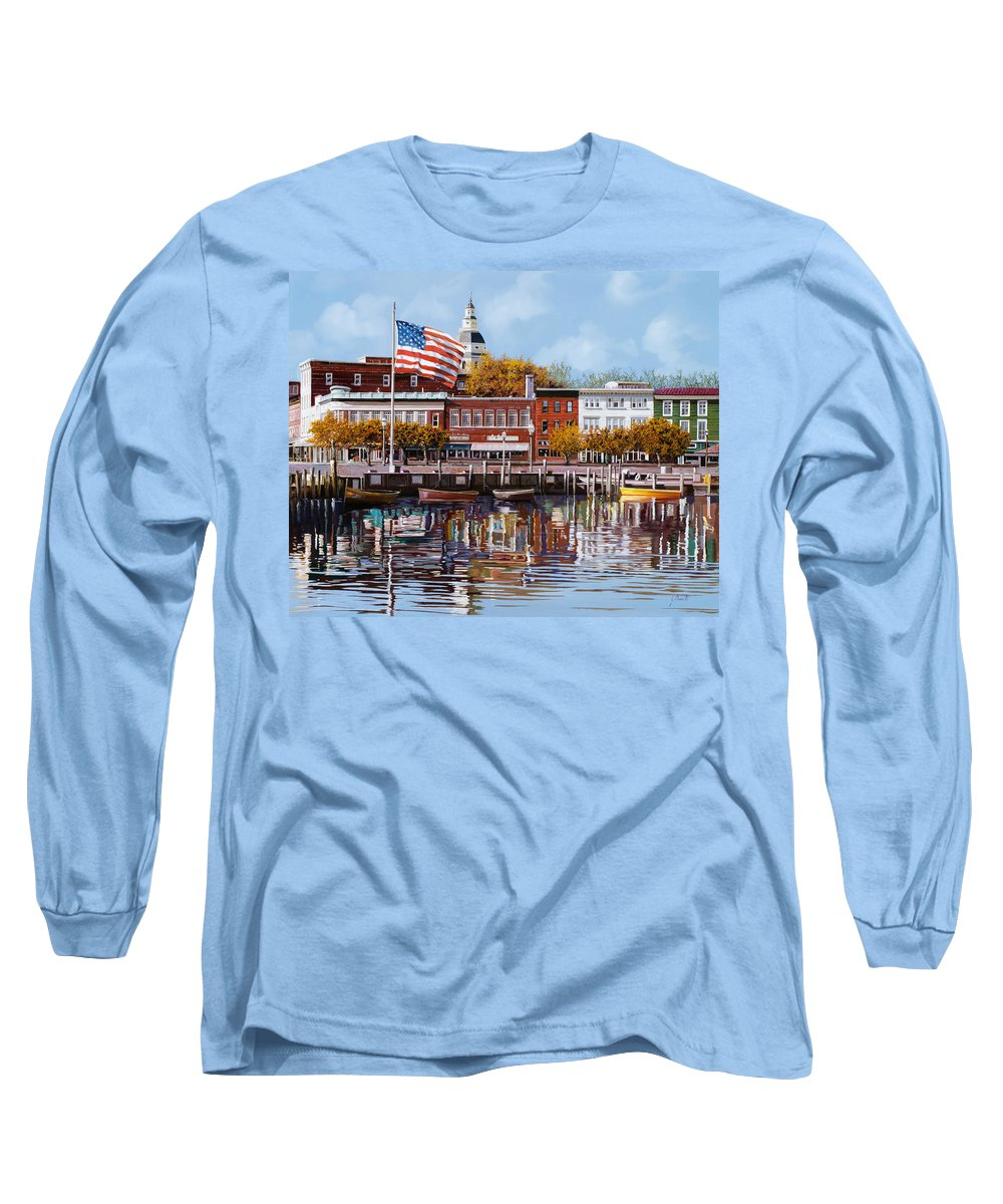 Annapolis Long Sleeve T-Shirt featuring the painting Annapolis by Guido Borelli