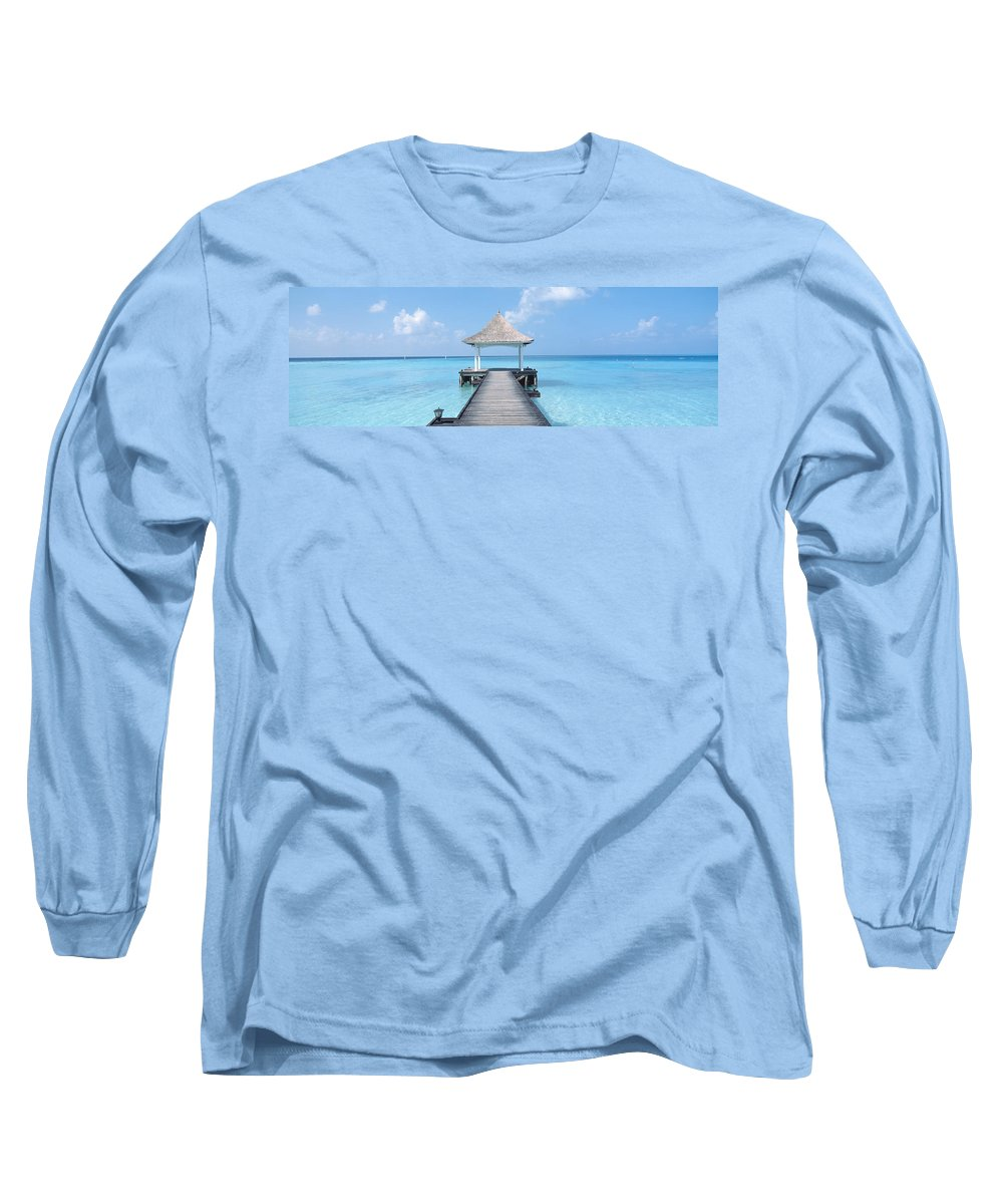 Photography Long Sleeve T-Shirt featuring the photograph Beach & Pier The Maldives by Panoramic Images