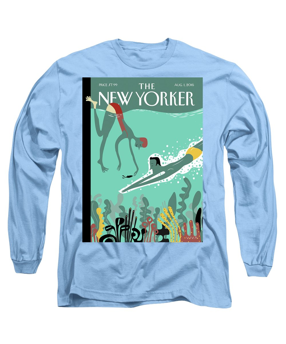 Beneath The Waves Long Sleeve T-Shirt featuring the painting Beneath The Waves by Frank Viva
