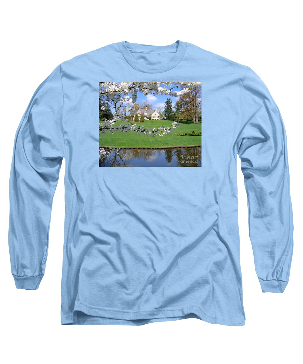 Spring Long Sleeve T-Shirt featuring the photograph Blossom-framed House by Ann Horn