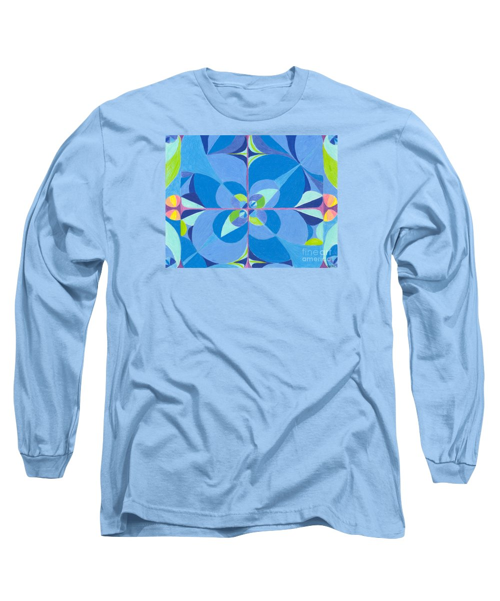 Color Long Sleeve T-Shirt featuring the drawing Blue Unity by Kim Sy Ok