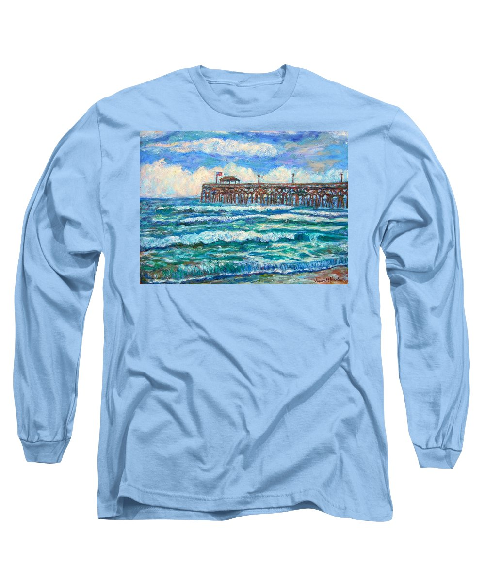 Shore Scenes Long Sleeve T-Shirt featuring the painting Breakers At Pawleys Island by Kendall Kessler
