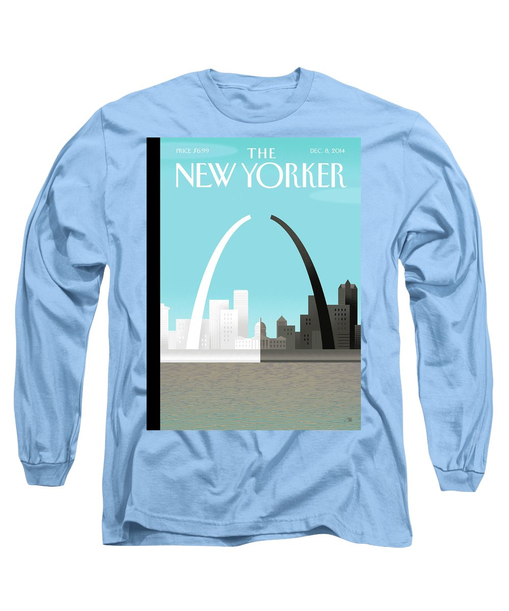 Race Long Sleeve T-Shirt featuring the painting Broken Arch. A Scene From St. Louis by Bob Staake