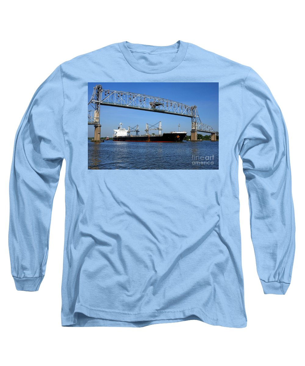 Freight Long Sleeve T-Shirt featuring the photograph Cargo Ship Under Bridge by Olivier Le Queinec