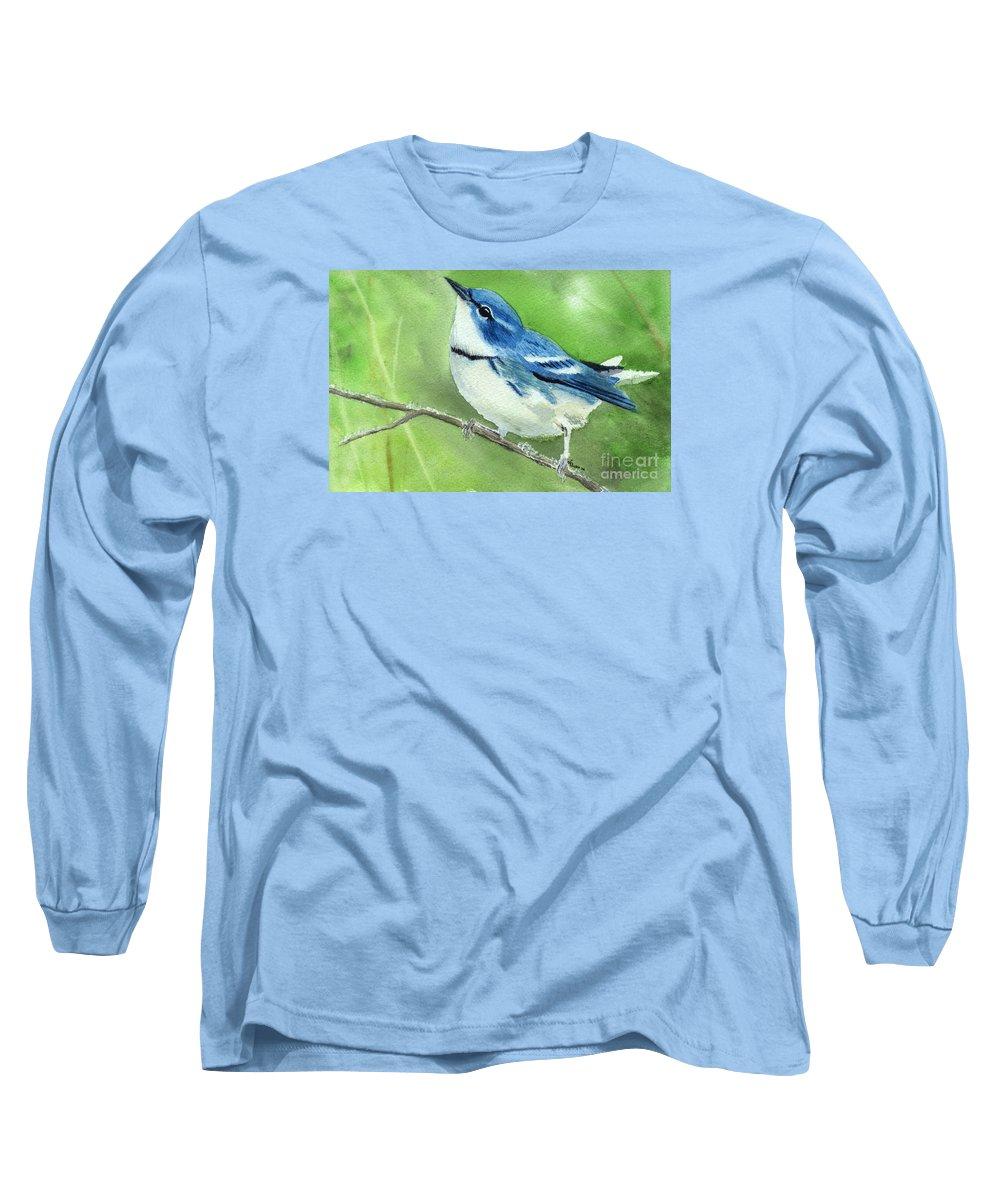 Bird Long Sleeve T-Shirt featuring the painting Cerulean Warbler by Lynn Quinn