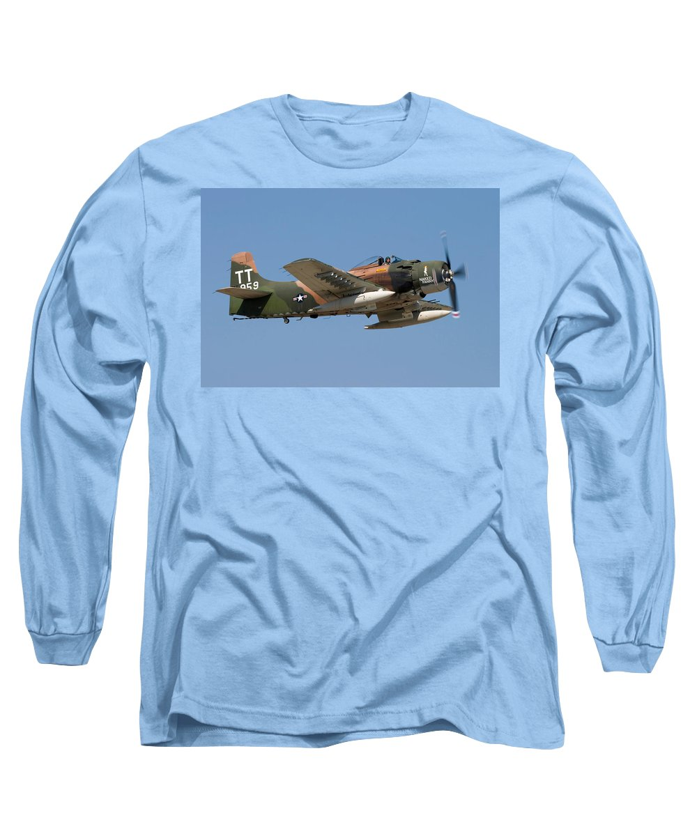 3scape Long Sleeve T-Shirt featuring the photograph Douglas Ad-4 Skyraider by Adam Romanowicz