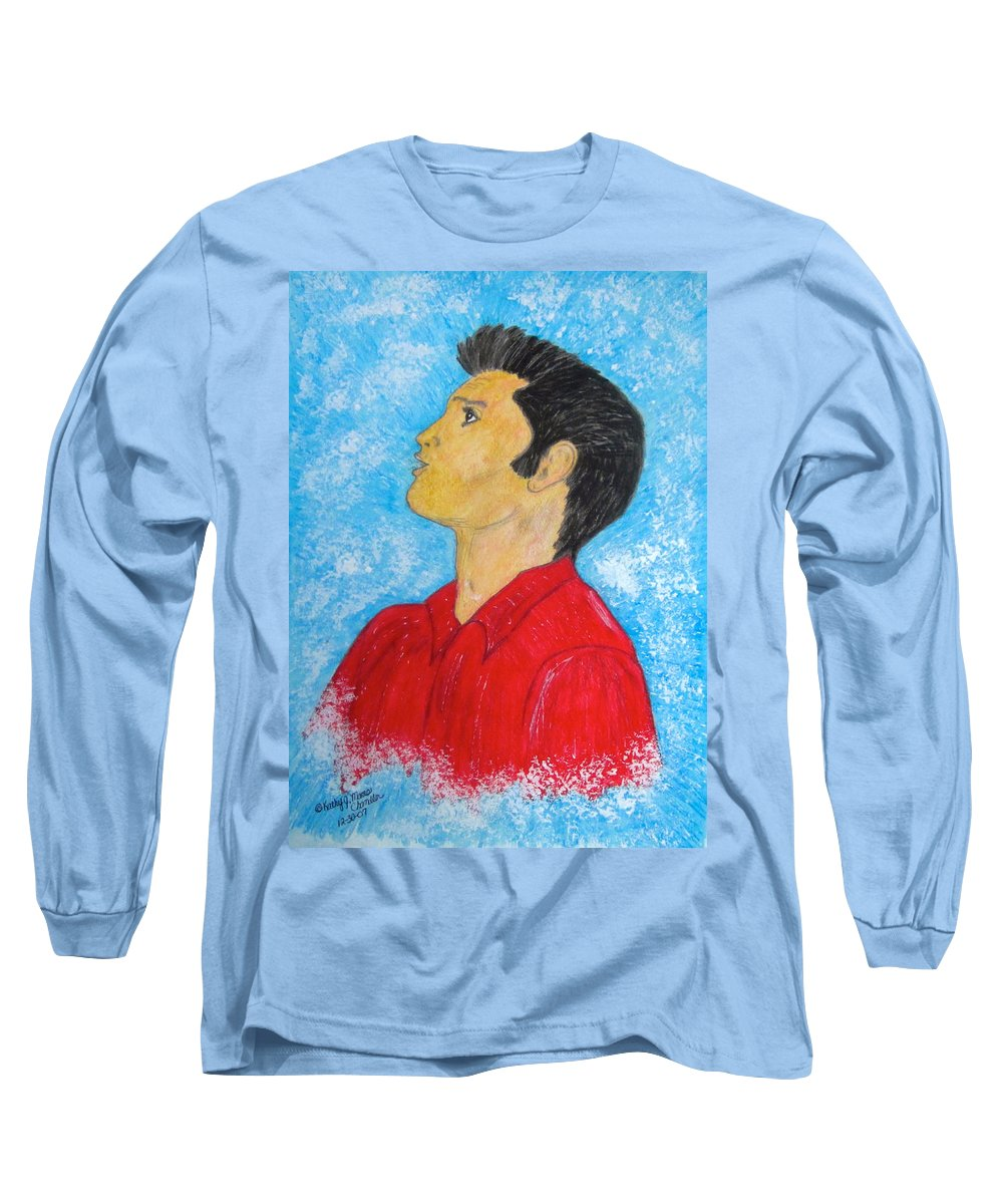 Elvis Presely Long Sleeve T-Shirt featuring the painting Elvis Presley Singing by Kathy Marrs Chandler