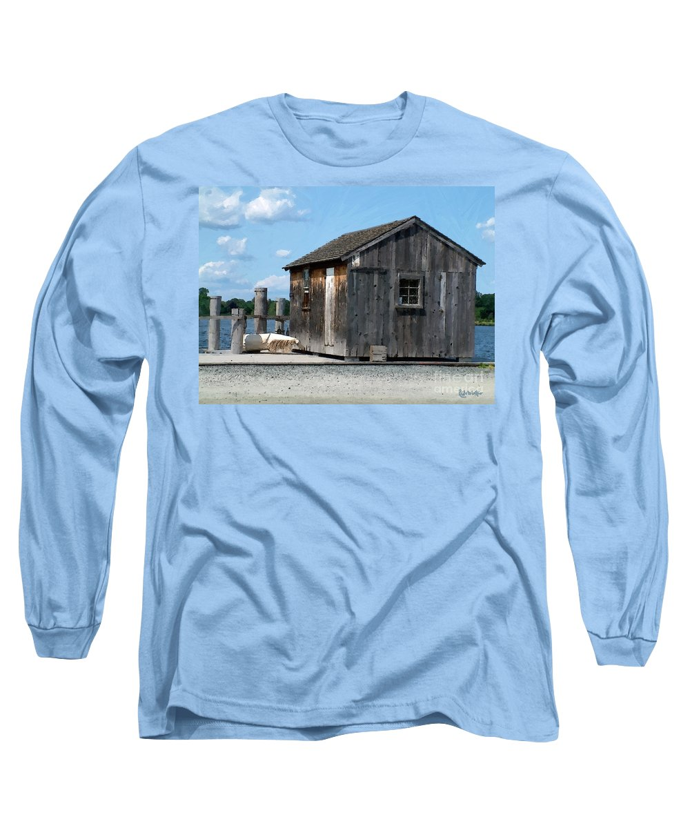 Shed Long Sleeve T-Shirt featuring the painting Fishing Shack On The Mystic River by RC DeWinter