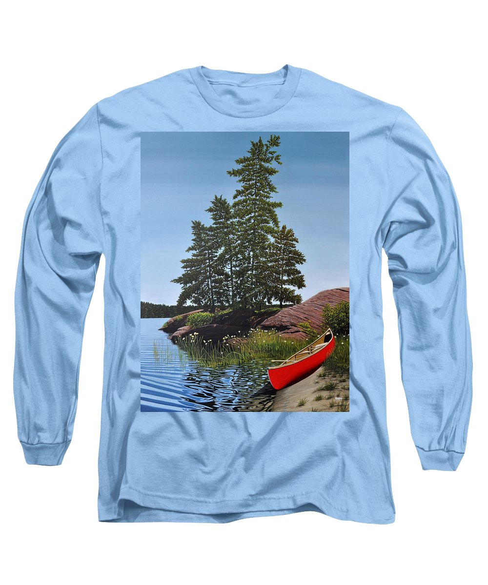 Landscapes Long Sleeve T-Shirt featuring the painting Georgian Bay Beached Canoe by Kenneth M Kirsch