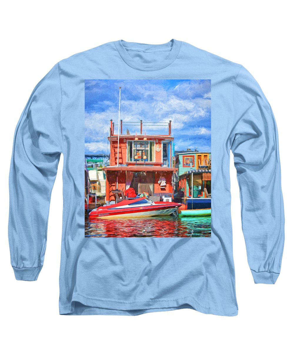 Seattle Long Sleeve T-Shirt featuring the photograph Houseboat #2 - Lake Union - Seattle by Nikolyn McDonald