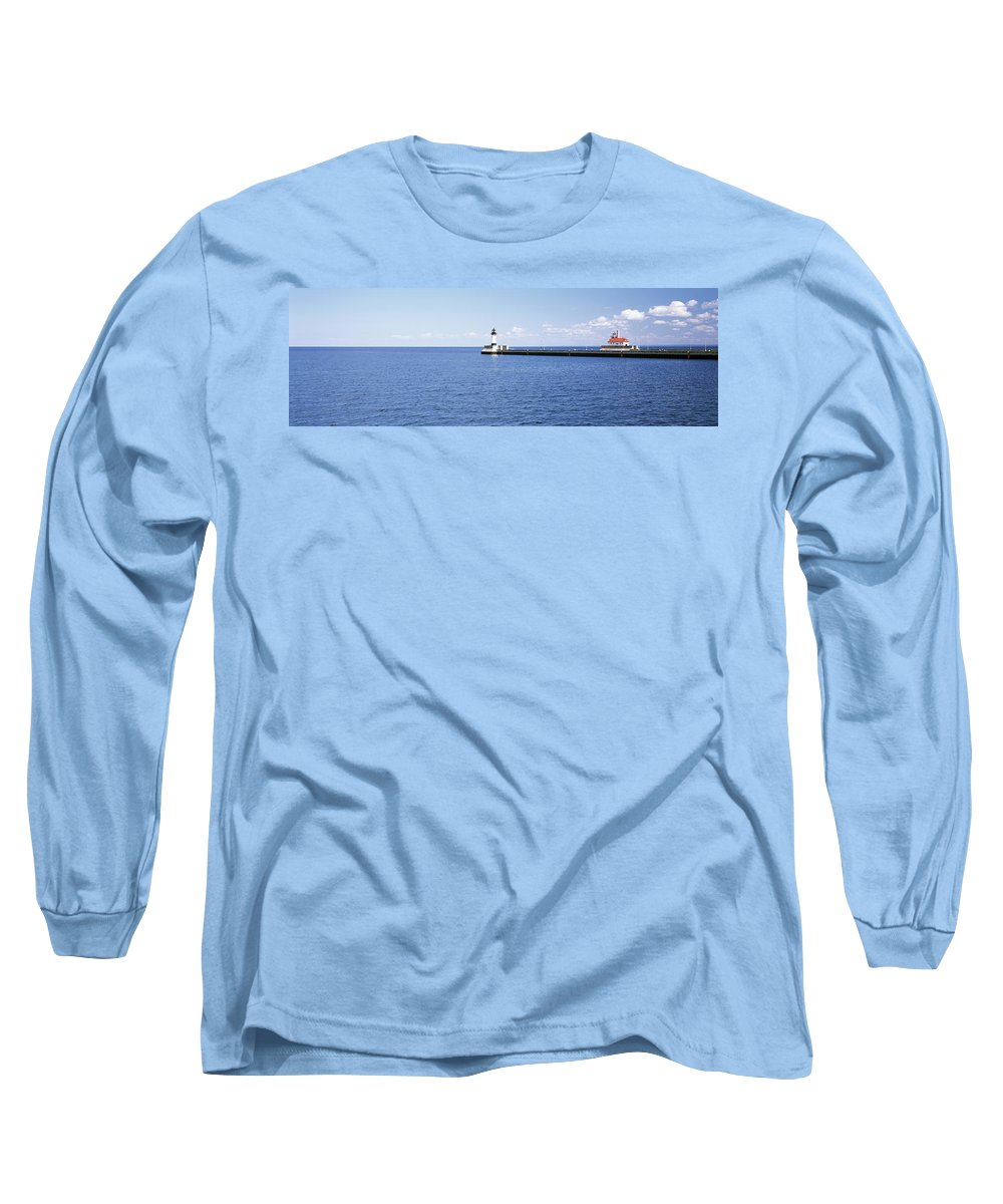 Photography Long Sleeve T-Shirt featuring the photograph Lighthouse On A Pier In A Lake, Lake by Panoramic Images
