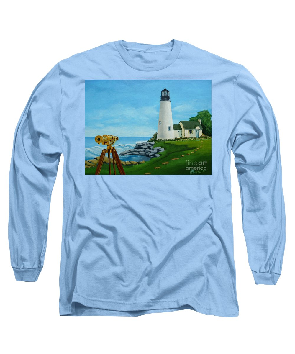 Lighthouse Long Sleeve T-Shirt featuring the painting Looking Out To Sea by Anthony Dunphy