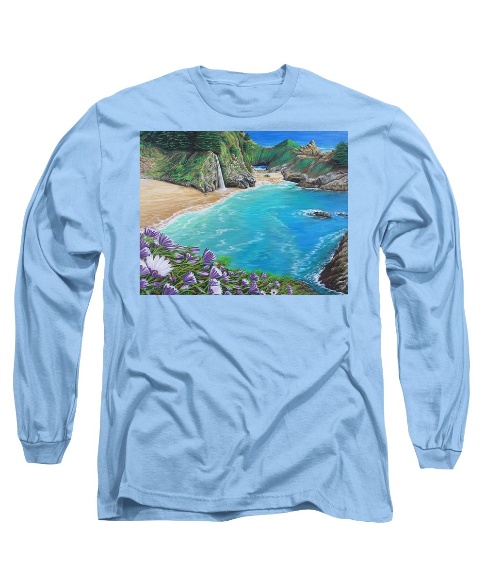 Beach Long Sleeve T-Shirt featuring the painting Mcway Falls by Jane Girardot