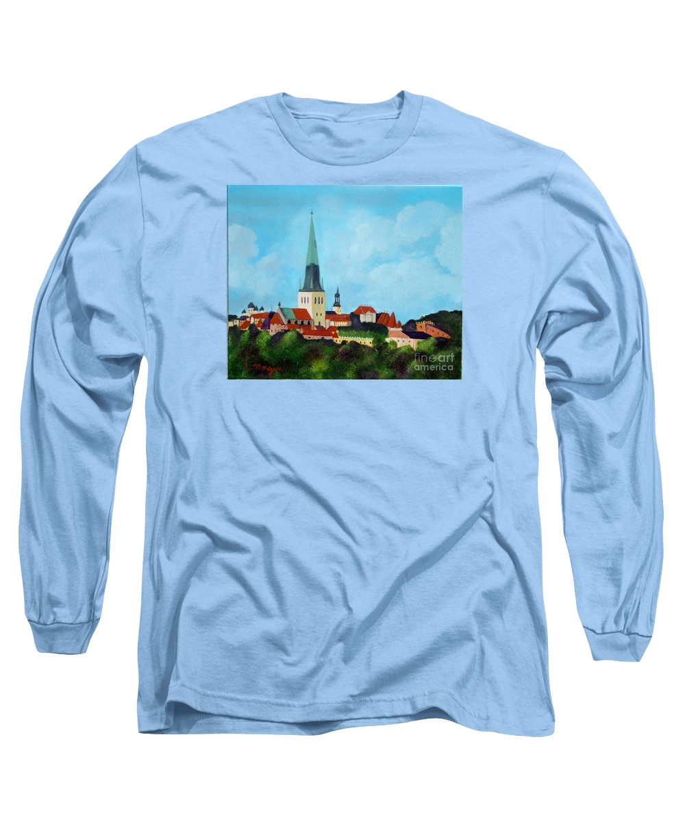 Tallinn Long Sleeve T-Shirt featuring the painting Medieval Tallinn by Laurie Morgan
