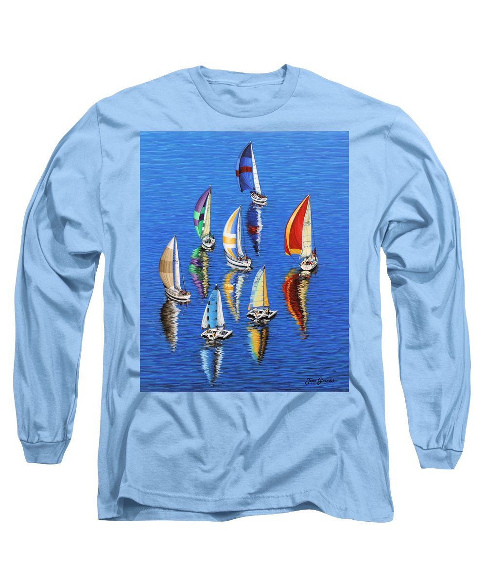 Ocean Long Sleeve T-Shirt featuring the painting Morning Reflections by Jane Girardot