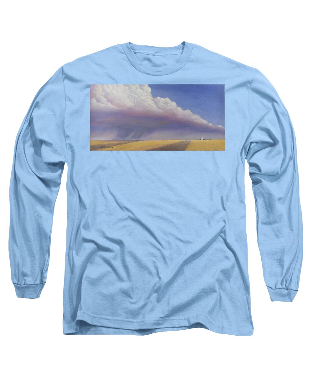 Landscape Long Sleeve T-Shirt featuring the painting Nebraska Vista by Jerry McElroy