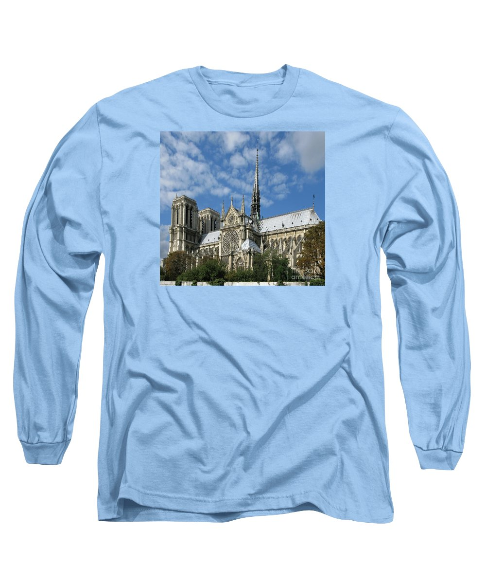Notre Dame Long Sleeve T-Shirt featuring the photograph Notre Dame Cathedral by Ann Horn
