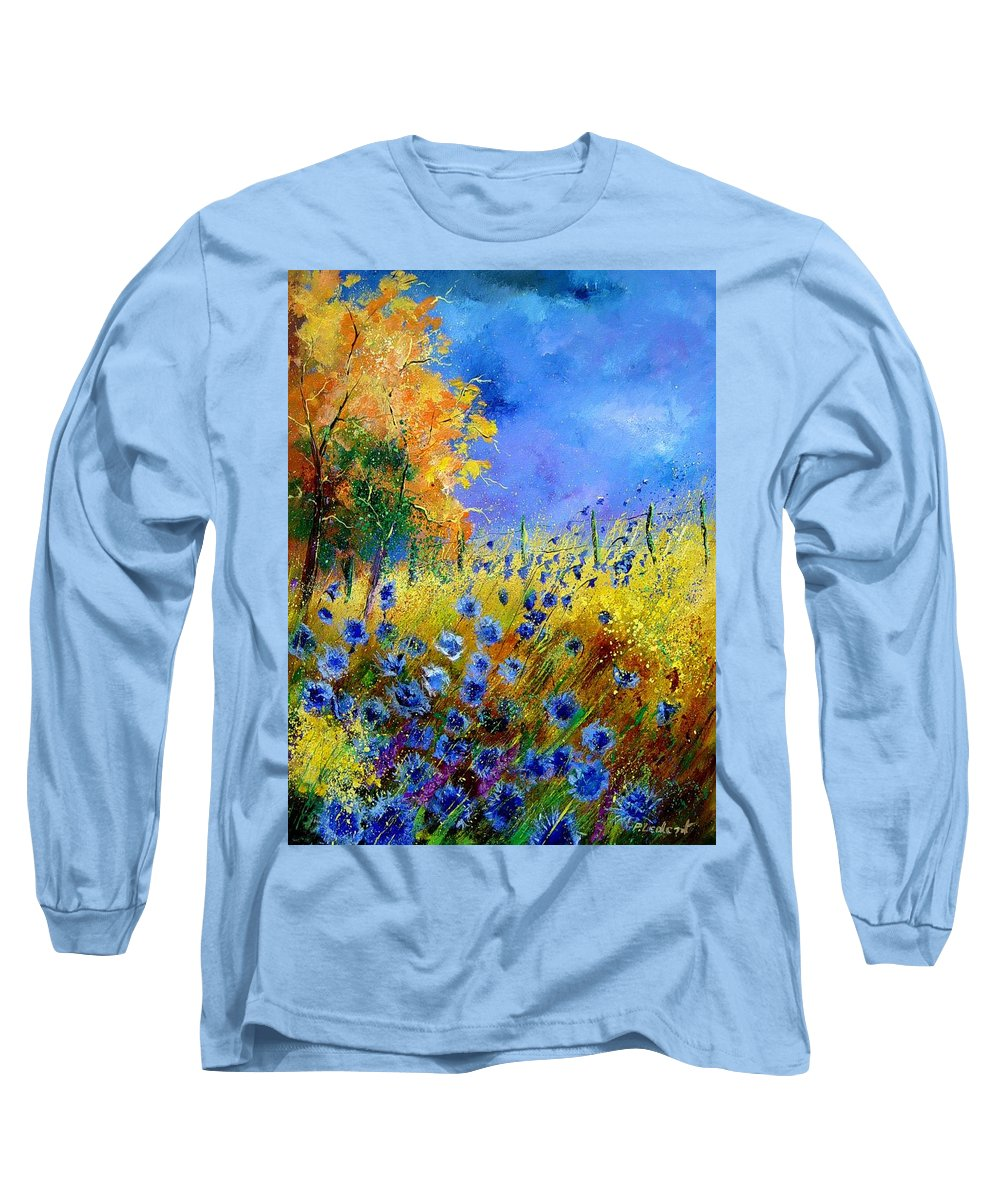 Poppies Long Sleeve T-Shirt featuring the painting Orange Tree And Blue Cornflowers by Pol Ledent