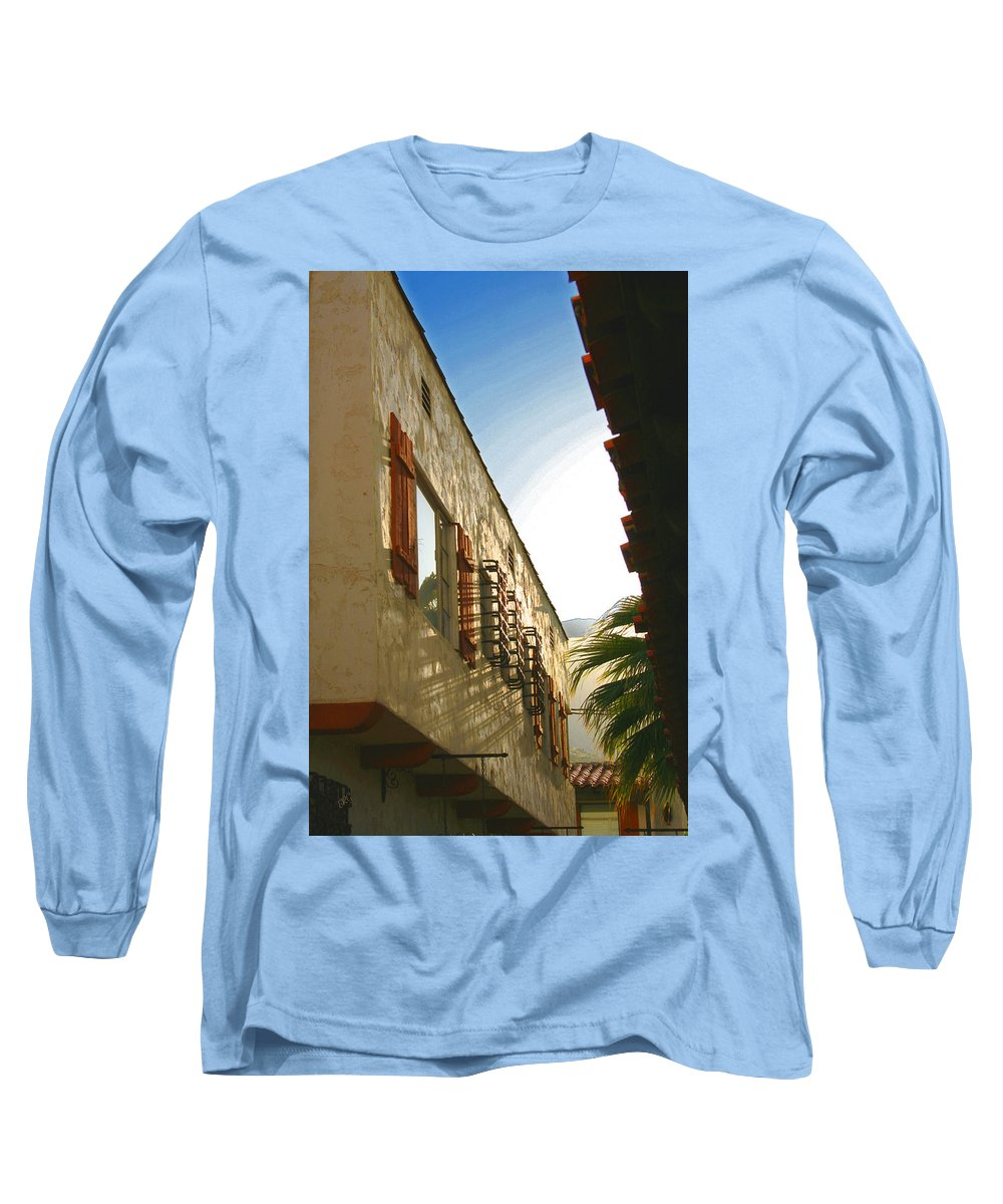 Architectural Detail Long Sleeve T-Shirt featuring the photograph Palm Springs Sky by Ben and Raisa Gertsberg