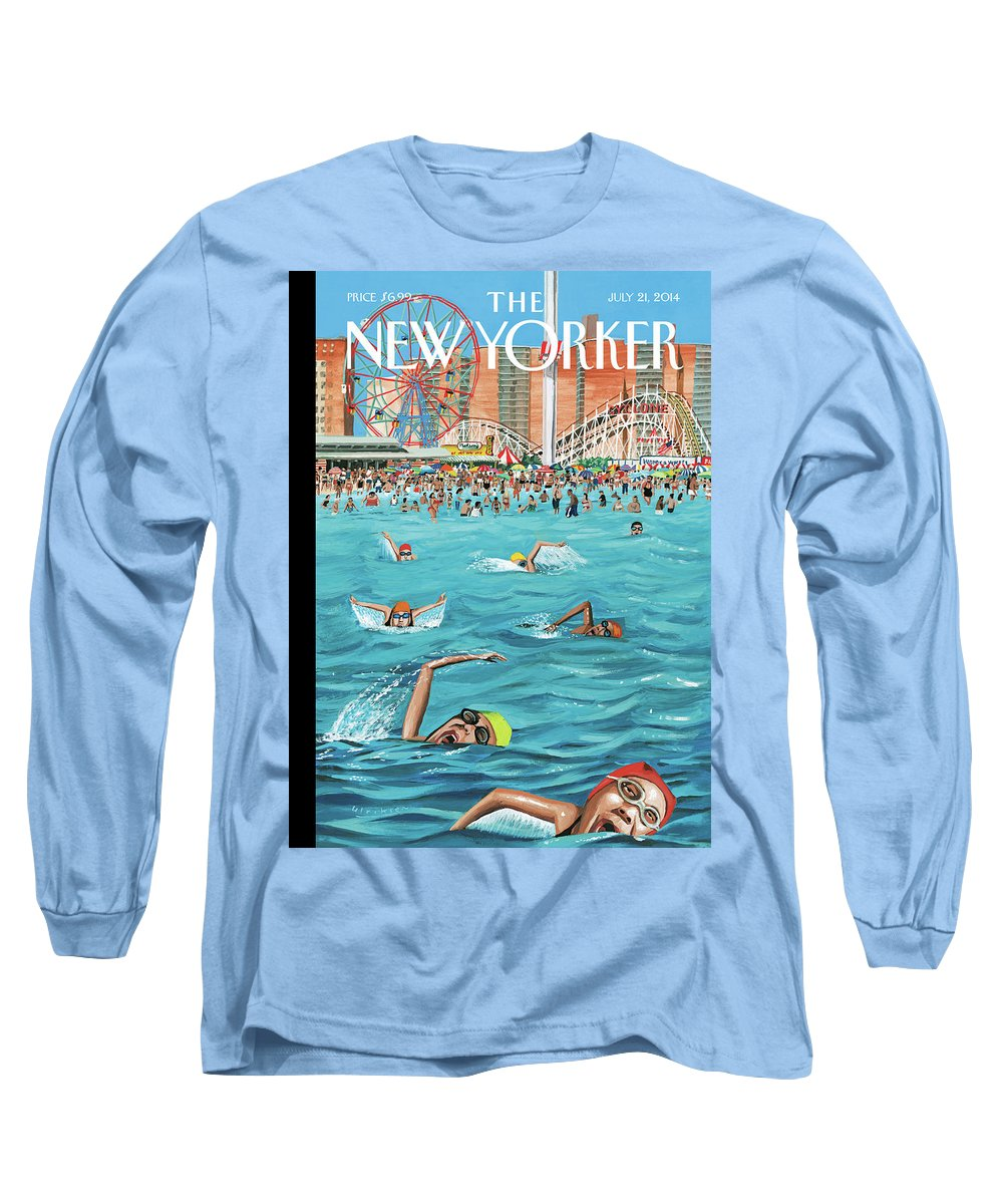 Beach Long Sleeve T-Shirt featuring the painting Coney Island by Mark Ulriksen