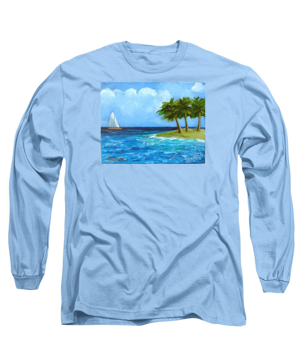 Boats Long Sleeve T-Shirt featuring the painting Perfect Sailing Day by Laurie Morgan