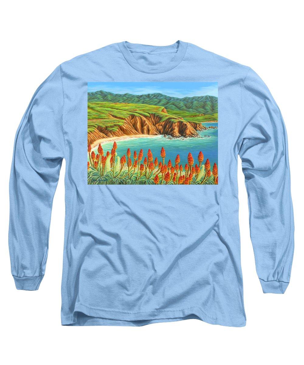 Ocean Long Sleeve T-Shirt featuring the painting San Mateo Springtime by Jane Girardot