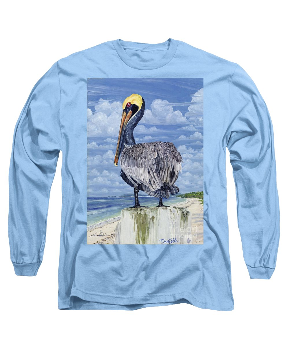 Seascape Long Sleeve T-Shirt featuring the painting The Pelican Perch by Danielle Perry