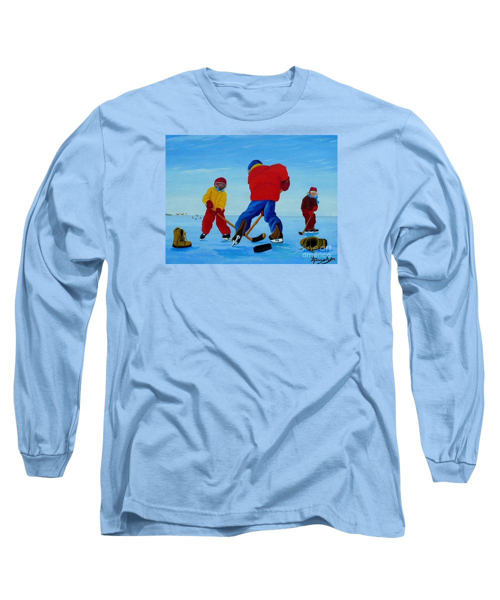 Winter Long Sleeve T-Shirt featuring the painting The Pond Hockey Game by Anthony Dunphy
