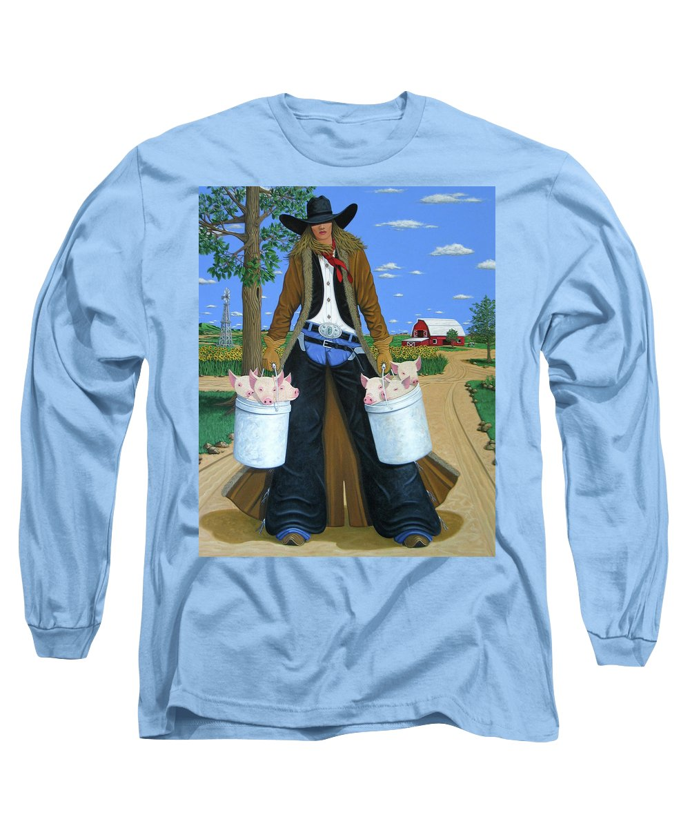 Little Piglets Long Sleeve T-Shirt featuring the painting Tickled Pink by Lance Headlee
