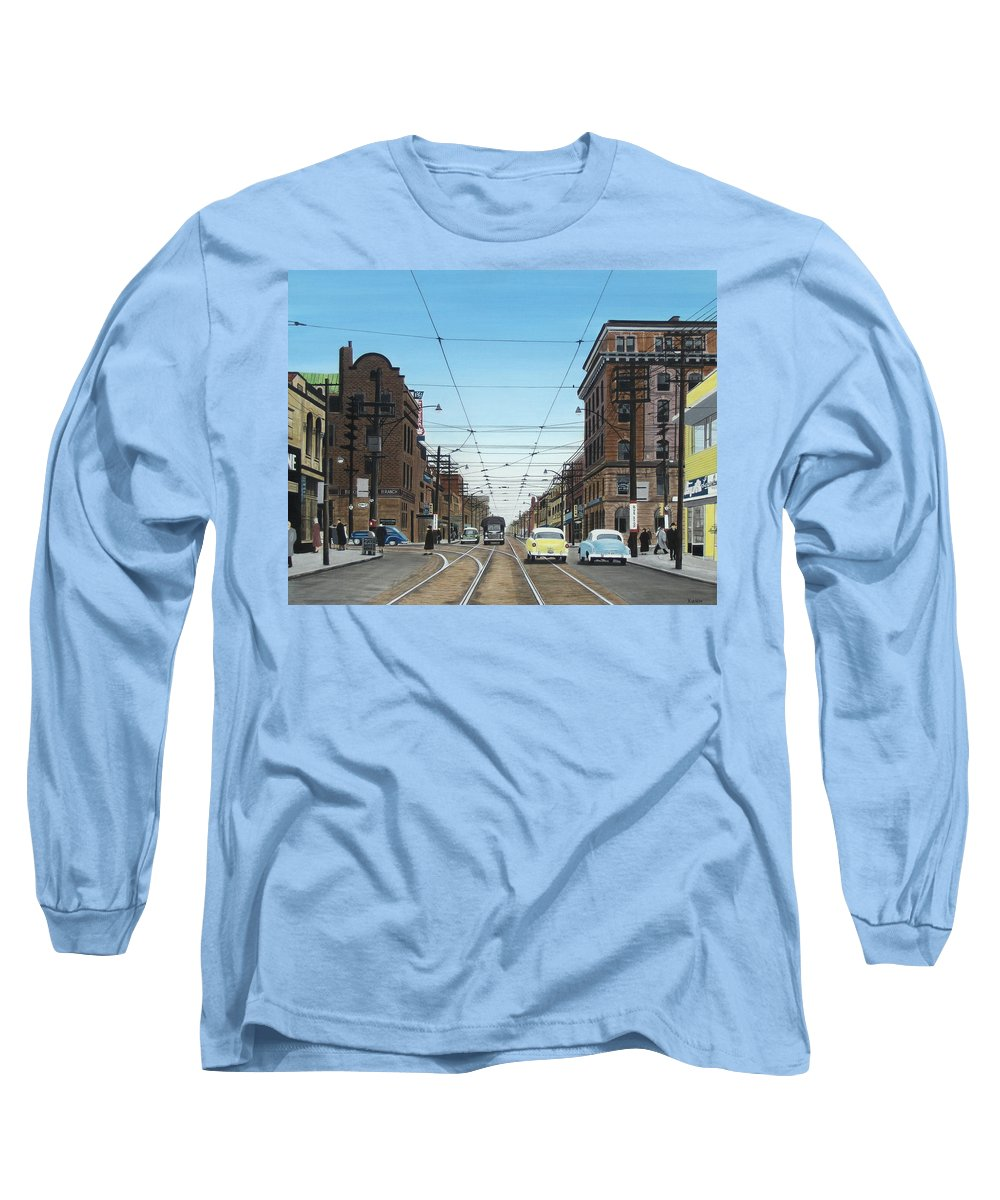 Streetscapes Long Sleeve T-Shirt featuring the painting Toronto Yonge And Bloor 1954 by Kenneth M Kirsch