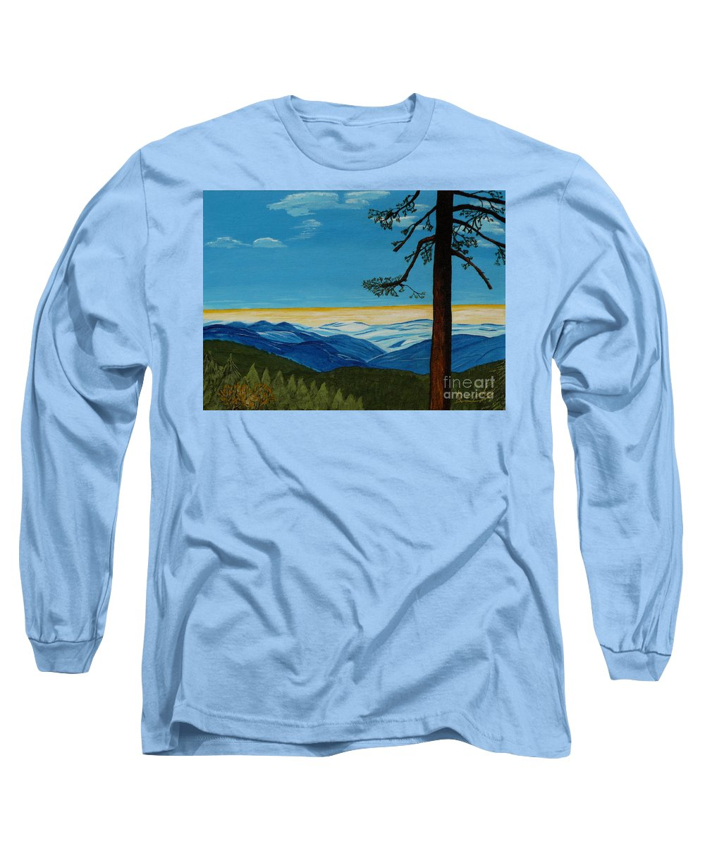 Mountain Long Sleeve T-Shirt featuring the painting Tranquil Solitude by Anthony Dunphy