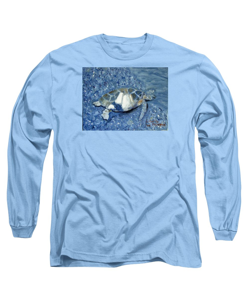 Turtle Long Sleeve T-Shirt featuring the painting Turtle On Black Sand Beach by Laurie Morgan