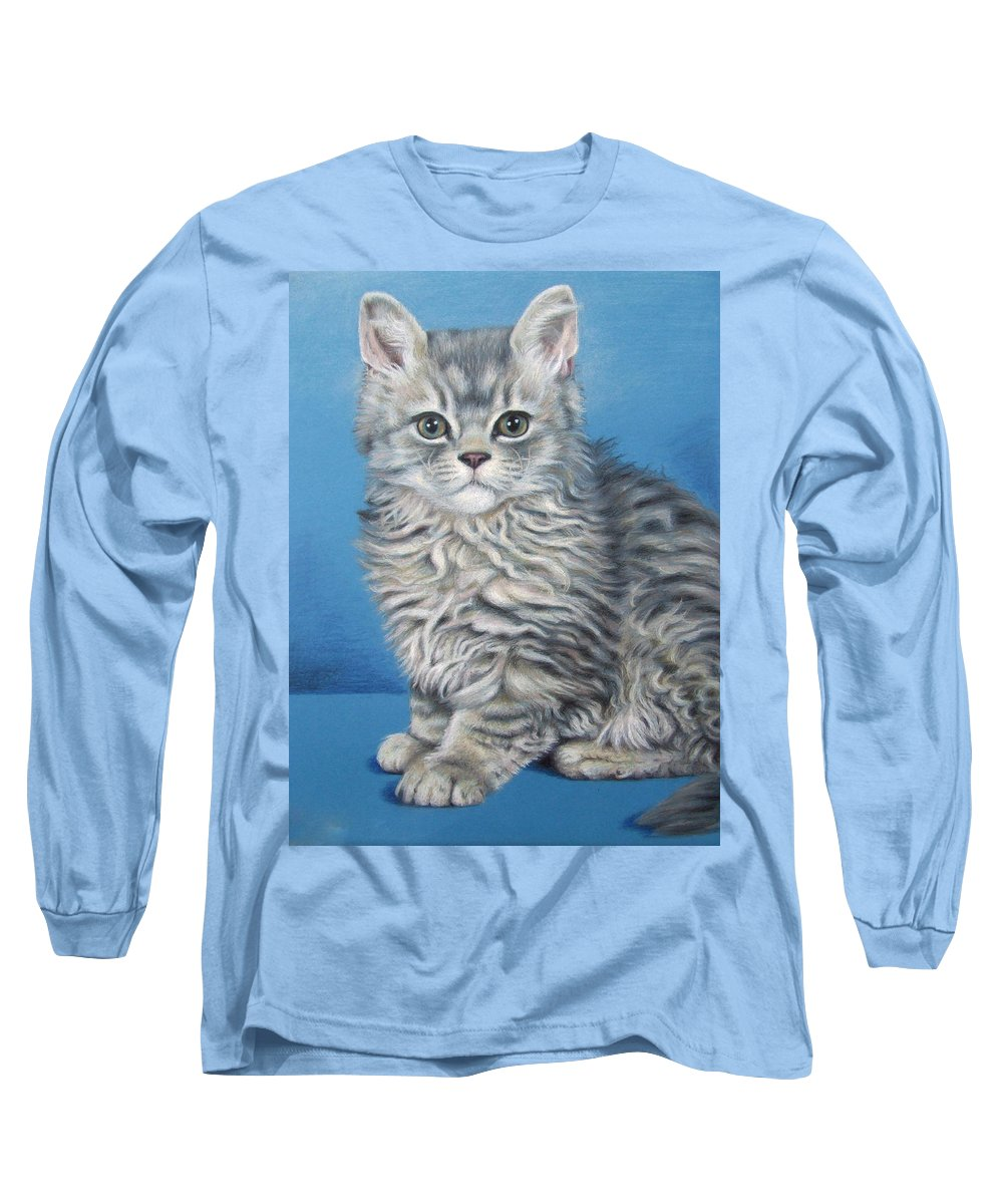 Cat Long Sleeve T-Shirt featuring the drawing Velvet Kitten by Nicole Zeug