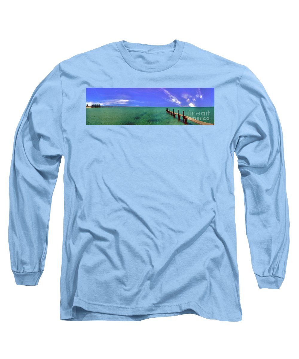 Western Australia; Beach Perth Panorama; Margaret River; Southern Hemisphere; Longest Wooden Jetty Long Sleeve T-Shirt featuring the photograph Western Australia Busselton Jetty by David Zanzinger