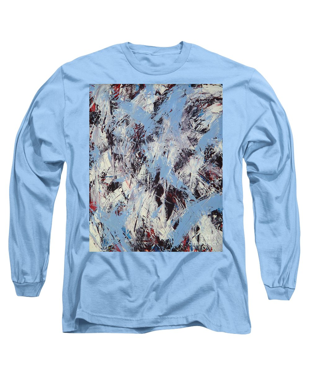 Abstract Long Sleeve T-Shirt featuring the painting Winter by Dean Triolo