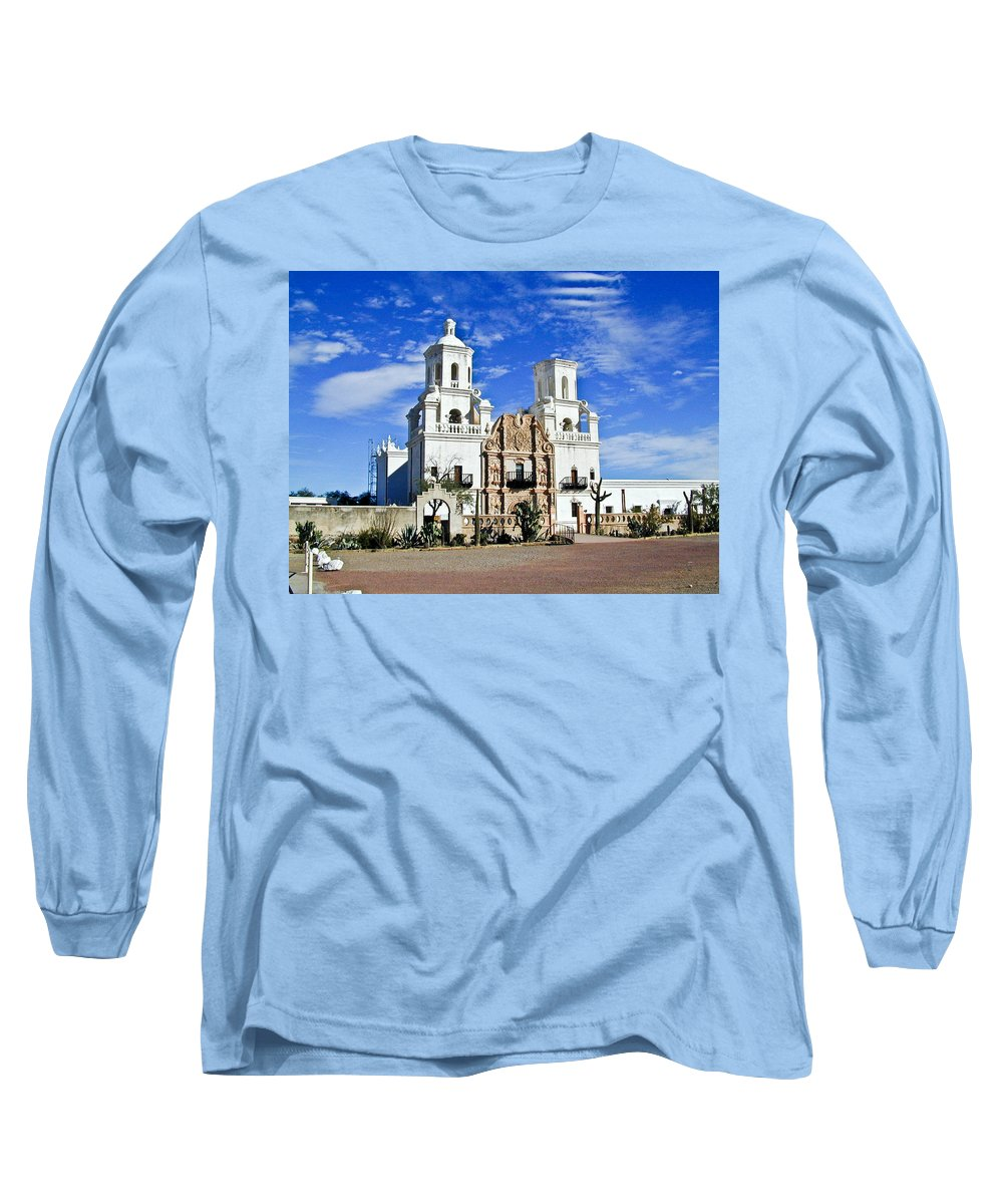 Mission San Xavier Del Bac Long Sleeve T-Shirt featuring the photograph Xavier Tucson Arizona by Douglas Barnett
