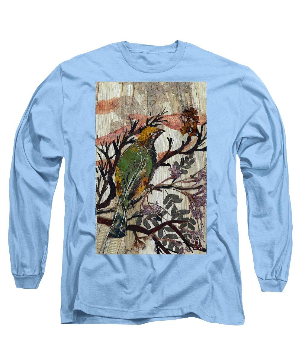 Green Bird Long Sleeve T-Shirt featuring the mixed media Green-yellow Bird by Basant Soni